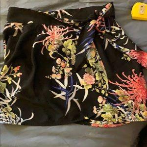 Black floral patterned wrap skirt